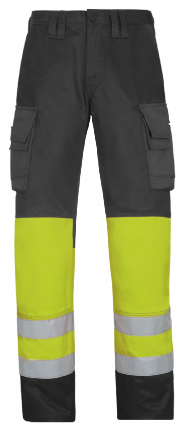 Snickers 3833 High-Vis Trousers, Class 1 (Muted Black / High Vis Yellow)